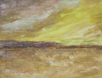 Yellow Wetland - contemporary Irish landscape painting by Seamus Gallagher
